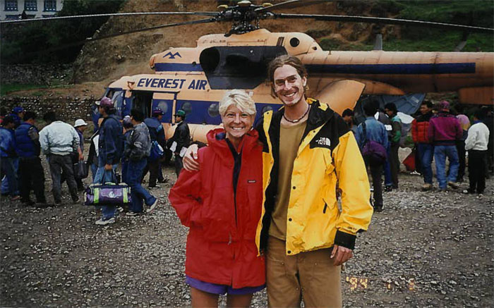 My son Darby and me in Lukla 1996